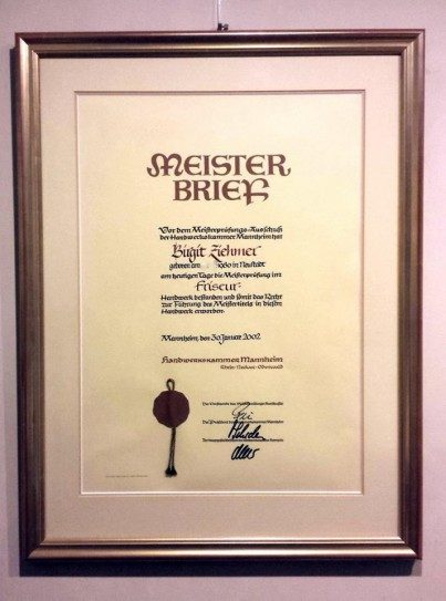 Einrahmung - Meisterbrief - doppel Passepartout; Museumsglas und Holzrahmen 23 Karat Gold, patiniert