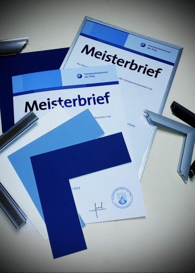 Einrahmung von Meisterbriefen